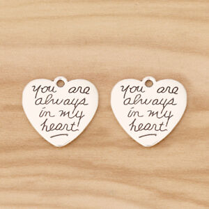 15pcs Tibetan Silver Tone You Are Always in My Heart Charms Pendants 2 Sided