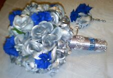 Wedding Bouquet Silver and dark Blue roses with  Boutonniere