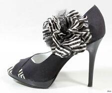 new BEVERLY FELDMAN black open-toe FLOWER MaryJane platforms PUMPS heels shoes 8