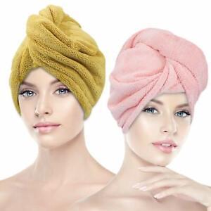 2 Pack Hair Drying Towels, Microfiber Hair Towel Wrap Turban Quick Dryer 10x26