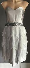 NWT Silver ROSE NOIR  Knee Length Strapless Bustier Dress Size 14 - Evening wear