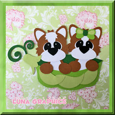 PEAS IN A POD LITTLE FOXES  Paper Piecing card toppers and scrapbooking