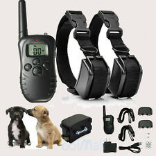 Rechargeable LCD 100LV Level Shock Vibra Remote 2 Dog Training Collar Waterproof