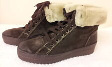 JOHN LEWIS - NEW - Brown Suede Lace Up Faux Fur Trim Ankle Boots - Size 5 EU 38