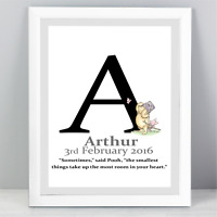 A4 Personalised Winnie The Pooh Quote Print White Unframed Wall Art Minimalist