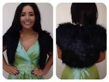 Black Faux Fur Womans Bridal Bolero Jacket Shrug Coat Wrap Evening Party Wedding