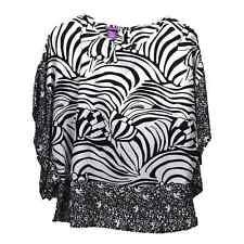 Beverly Drive Womens Plus Size White Black Zebra Print Kimono Top Blouse 1X 2X
