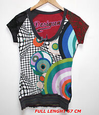 DESIGUAL GRAY & MULTI COLOR LADIES WOMAN BLOUSE MARKED SIZE M MODERN STYLE