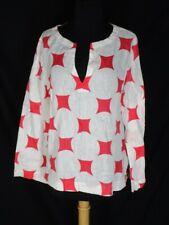 Island Company White Linen Pullover Shirt Blouse Top Orange design M