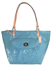 Coach Light Blue Embossed Leather Leah Large Tote Womens Bag Purse F14662