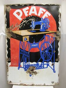 Vintage Pfaff Shewing Machine Eneamel Porcelain Sign Made In Germay Collectib 10