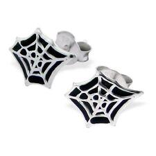 Spider Web Post Earrings - 925 Sterling Silver - Halloween Earring Studs NEW