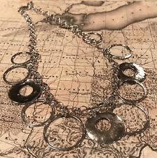 Silpada N1325 .925 Sterling Silver HAMMERED Ring Circle Link Necklace