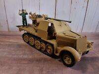 WWII German Half-Track Armored Truck w/ Flak Gun Plastic Model Built 1:35 Scale