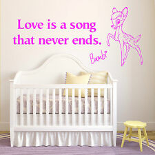 BAMBI Love is a song that never ends WALT DISNEY vinyl wall art sticker quote