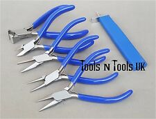 "BLUE 4-1/2"" PLIERS & KNOTTING TOOL 6 PCS SET/ KIT JEWELLERY WIRES BEADS IN POUCH"