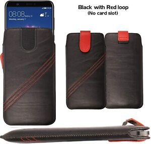 FOR NOKIA 215  - Genuine Leather Magnetic Flip Pull Tab Case Cover Pouch