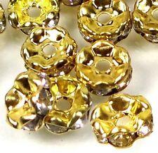 8mm A Grade Golden Rhinestone Rondelle Beads Waves Edge (30pc)