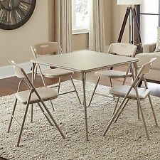 Cosco 5-Piece Folding Table and Chair Set Antique Linen