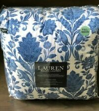RALPH LAUREN Blue /White Jacobean Floral Full/Queen Comforter Set 3pc