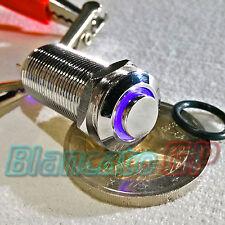 INTERRUTTORE SPST 12mm BISTABILE LED DC BLU ottone cromato illuminato unipolare
