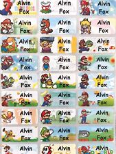 Mario Bros, School Name Labels, name labels, Waterproof, dishwasher safe, Mario