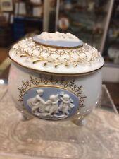 Antique Vintage Cameo Blue Angel Jewelry Trinket Stash Box