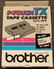 """Genuine Brother P-Touch Tape Cassette Black on Clear Tx-1311, 1/2"""" 50ft. New !"""