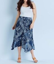 Crossroads Hanky Hem Blue Paisley Skirt With Elastic Waist At The Back  Size 18