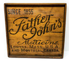 Vintage Framed Wood Crate Advertising Panel Father John's Medicine Lowell MA.
