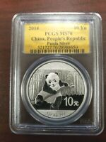 PCGS SILVER MS 70 2014 CHINA PANDA PEOPLE'S REPUBLIC 10YN GOLD LABEL