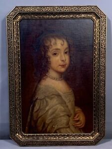 Antique CLASSICAL Style CHILD PORTRAIT Oil PAINTING Old 1920s GESSO Flower FRAME