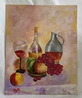Vintage Folk Art Original Painting Still Life Chianti Wine Bottles Fruits EVA