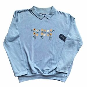 Vintage Deadstock 80s Collared Jumper Baby Blue Sweatshirt Embroidered Flowers
