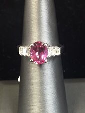 Stunning New 14k White Gold & 2ct. Pink Topaz and Diamond Ring