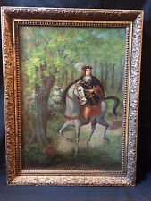 26X19 ANTIQUE OIL ON CANVAS PAINTING SIGNED HORSE MAN ROYALTY PRINCE LANDSCAPE