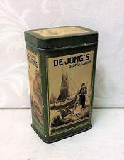 Small Rare De Jong's Cacao Cocoa Tin Box, Antique Vintage, Dutch Advertising