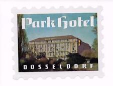 Park Hotel Luggage Label Düsseldorf Germany Deutschland