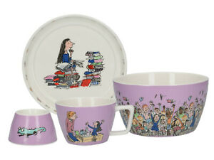 Roald Dahl Matilda 4 Piece Stacking Childrens Breakfast Set - Gift Boxed