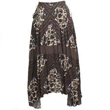 FREE PEOPLE Brown Printed Paradise Rayon Handkerchief Pleated Midi Skirt 8 NEW