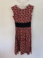 Easton Pearson Dress Long Black Red Stripe Sleeveless Long Geometric Cotton 12 8