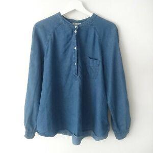 Masscob Womens Blue Chambray Collarless Shirt Top Blouse size L