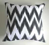 """Matina"" Black & White Decorative Cushion Cover Chevron Zig Zag IKAT Moroccan"