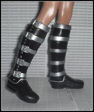 SHOES KEN MODEL MUSE 2010 JAPAN DOLL SAMURAI SILVER & BLACK FAUX BUCKLE BOOTS