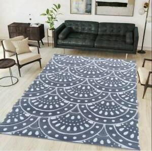 Grey Area Rugs | Modern Coastal Living Room Rugs | Soft Floral Small Large Rugs