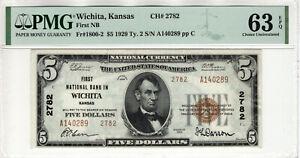 1929 T2 $5 FIRST NATIONAL BANKNOTE CURRENCY WICHITA KANSAS PMG CHOICE UNC 63 EPQ