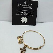 Alex & Ani Lucy 4 Leaf Clover Crystal Russian Gold Finish Charm Bangle Bracelet