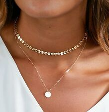 Gold Plated Disc Coin Circle Lariat Cleavage PlungeChain Choker Necklace Pendant
