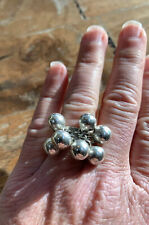 Vintage, Heavy, Solid Sterling Silver Ball Ring Band. NAJO, Sydney.