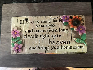Flower Memorial Plaque Rubber Latex Mould Mold Fairy Memory Garden Sign
